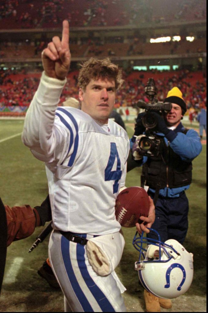 Jim Harbaugh during the Lindy Infante stage of his career. -- AP