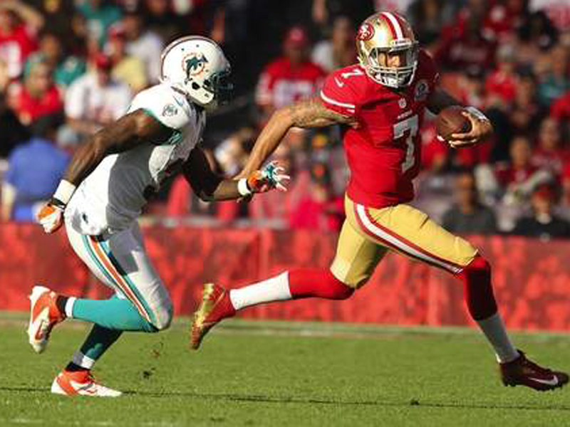 OPTING TO RUN: Colin Kaepernick ran for 415 yards on 63 carries, averaging 6.6 yards per attempt, during the regular season. In the playoffs, he has 18 rushes for 202 yards, good for 11.2 yards per carry.