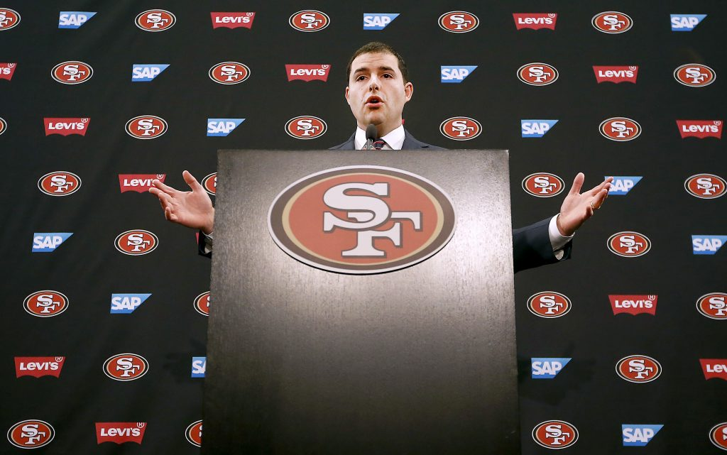Jed York speaking at a 49ers press conference