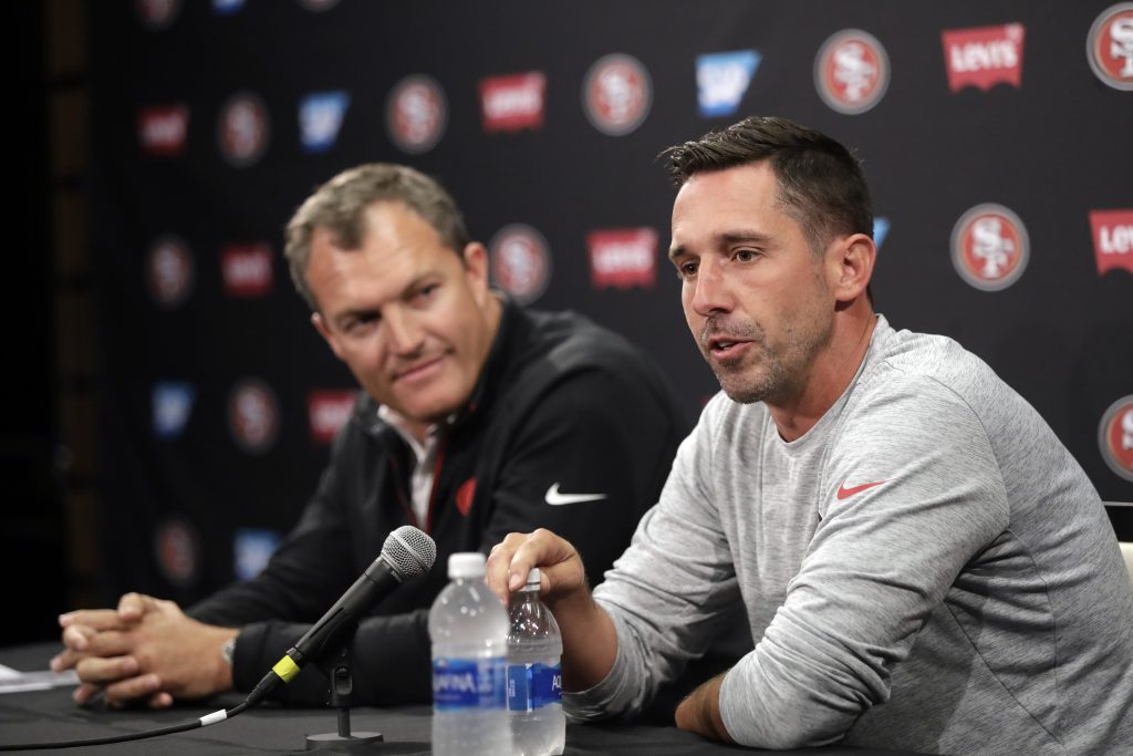 Head coach Kyle Shanahan and GM John Lynch answer questions during 49ers training camp