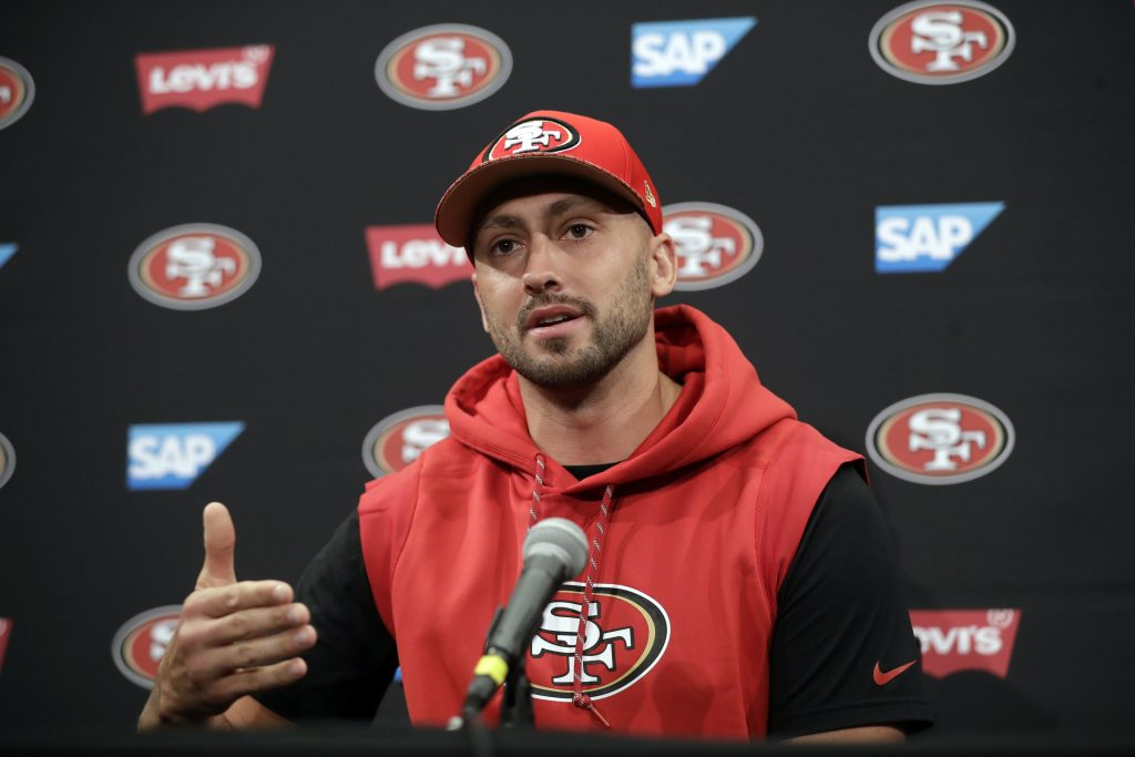Quarterback Brian Hoyer answers questions during 49ers training camp