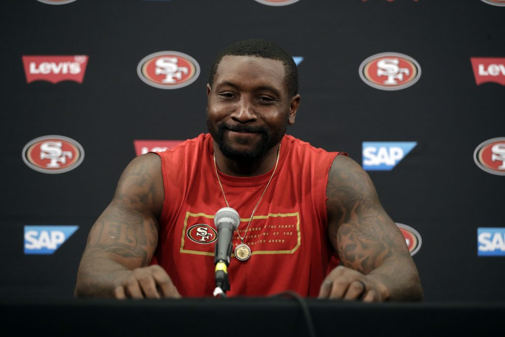 Linebacker NaVorro Bowman answers questions at 49ers training camp