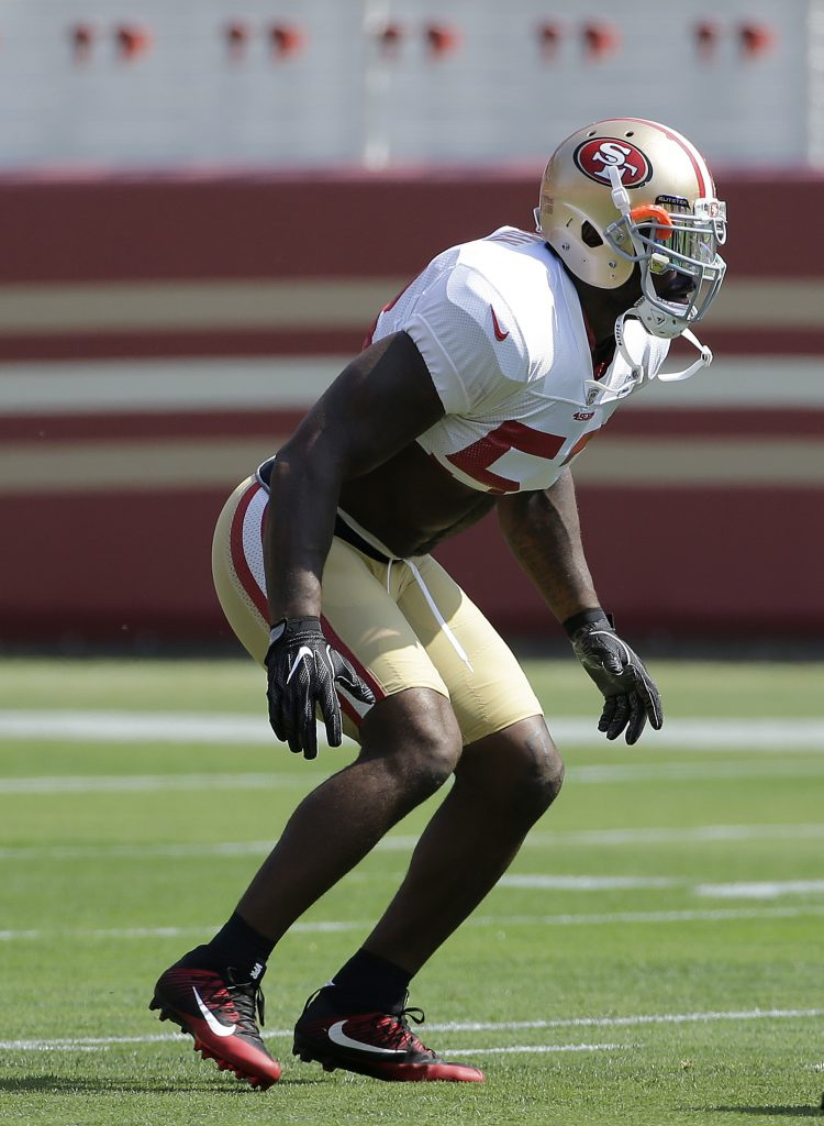 49ers linebacker NaVorro Bowman plays during practice