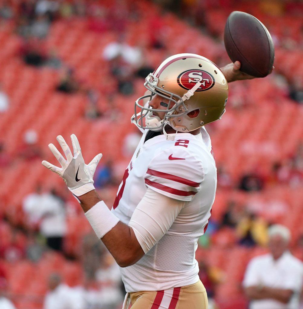 Quarterback Brian Hoyer throws a pass before the San Francisco 49ers' preseason game against the Kansas City Chiefs