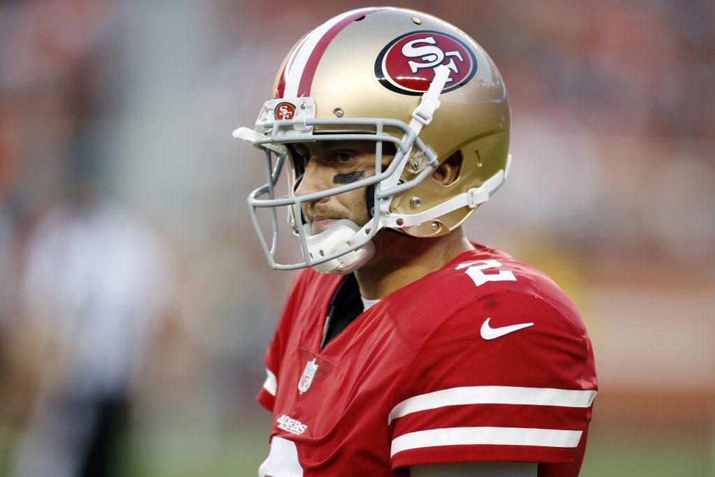 49ers quarterback Brian Hoyer stares to the left