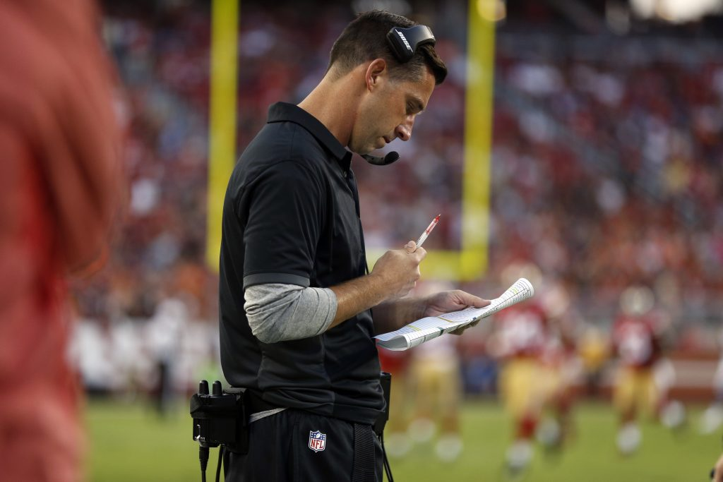 Head coach Kyle Shanahan looks at his play sheet during the 49ers preseason game against the Broncos