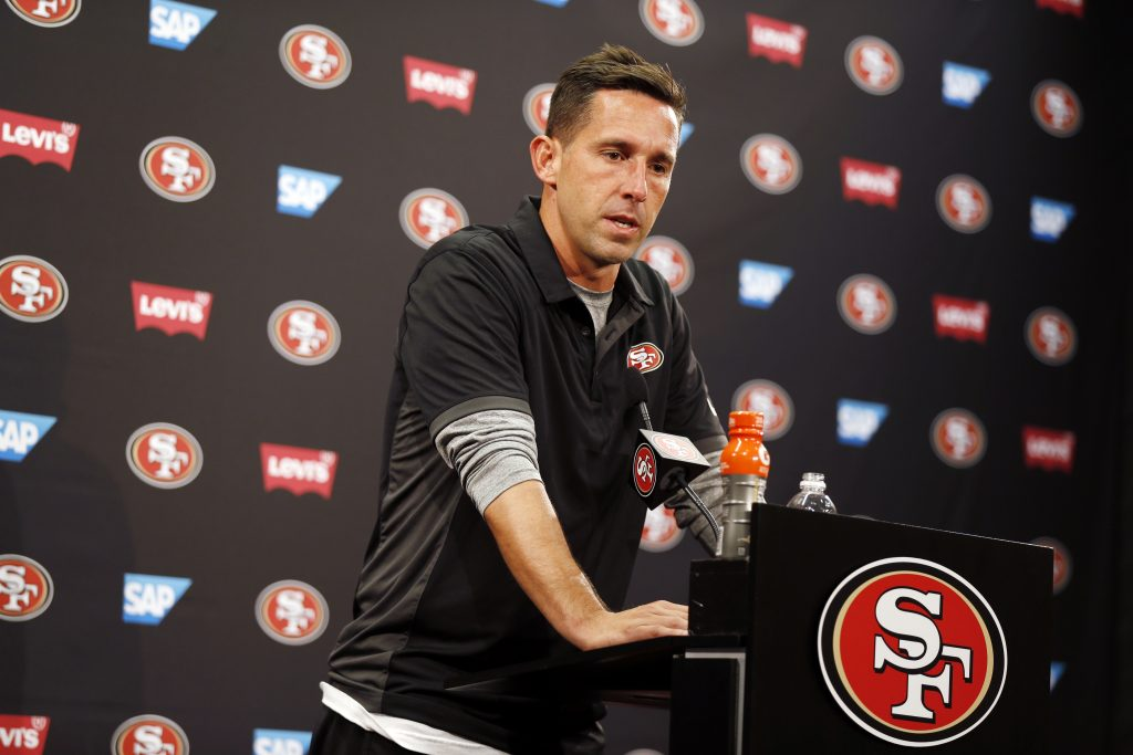 49ers head coach Kyle Shanahan answers a question during a press conference