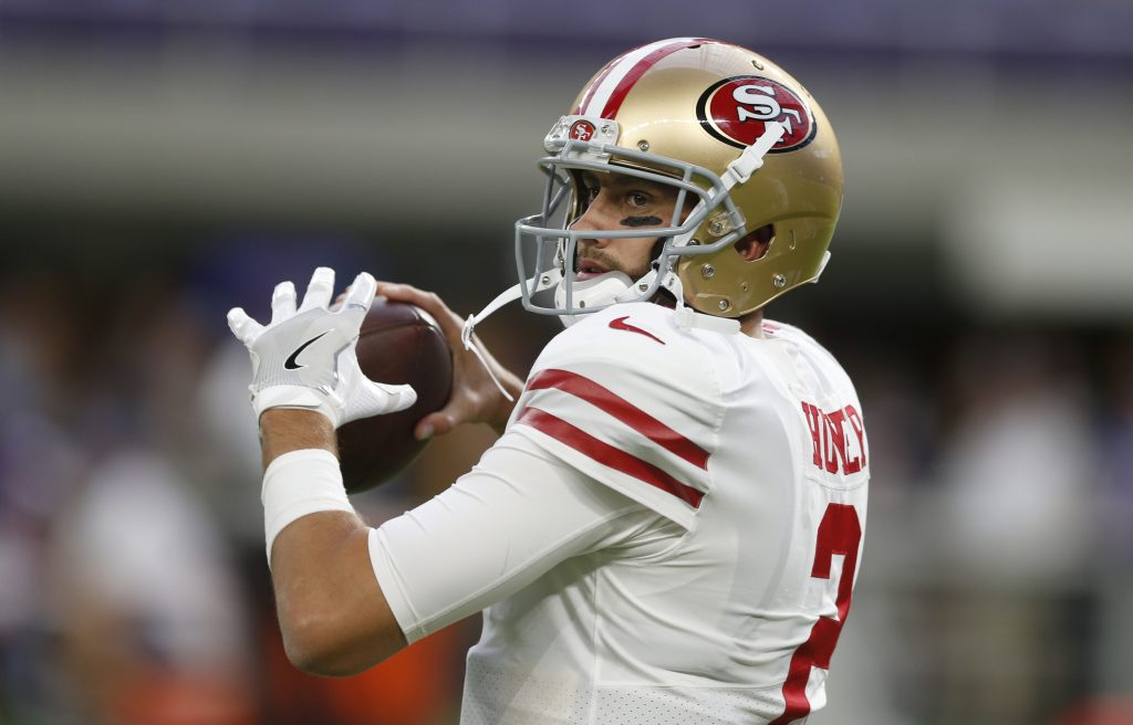 Quarterback Brian Hoyer throws a pass before the 49ers preseason game against the Vikings