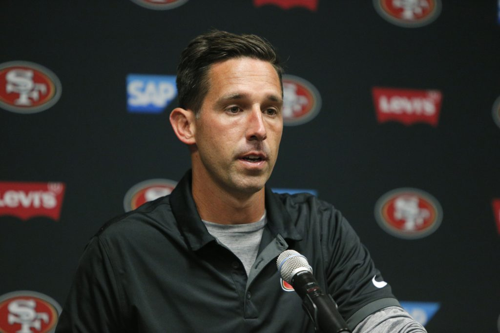 Head coach Kyle Shanahan answers a question after the 49ers preseason game against the Vikings
