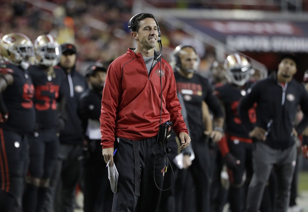 49ers head coach Kyle Shanahan stands on the sideline during the 49ers Thursday night game against the Rams