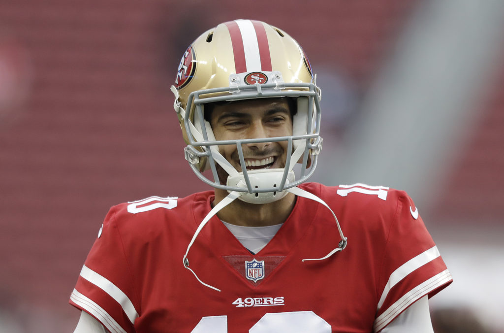31db575bc1f San Francisco 49ers quarterback Jimmy Garoppolo (10) warms up before an NFL  football game against the Jacksonville Jaguars in Santa Clara