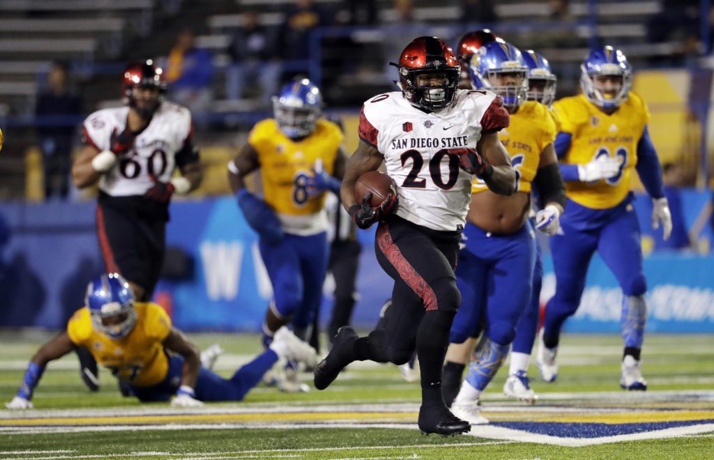 San Diego State running back Rashaad Penny runs against San Jose State  during an NCAA college football game against San Jose State Saturday f08fc4ef5