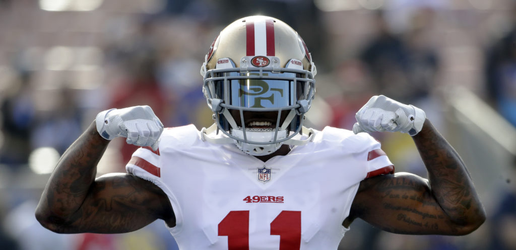 d6487f58342 San Francisco 49ers wide receiver Marquise Goodwin (11) against the Los  Angeles Rams during the first half of an NFL football game Sunday