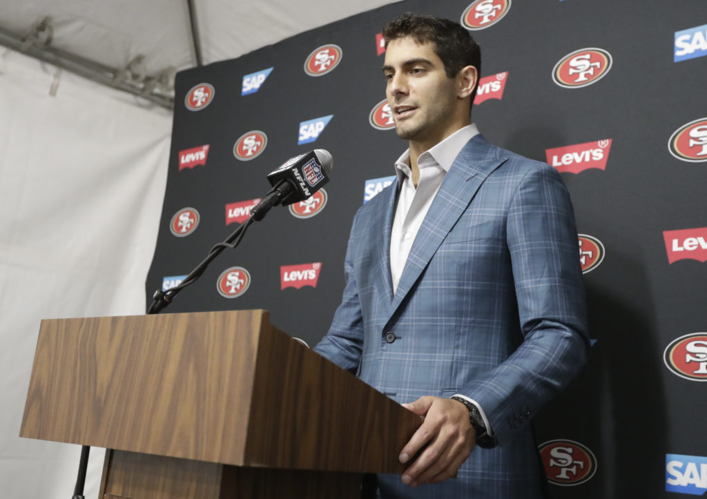 ee3fd2b72 San Francisco 49ers quarterback Jimmy Garoppolo talks during a news  conference after an NFL football game against the Los Angeles Rams Sunday,  Dec.