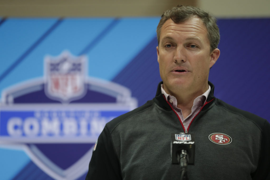 San Francisco 49ers general manager John Lynch speaks during a press  conference at the NFL football scouting combine in Indianapolis b3288020e