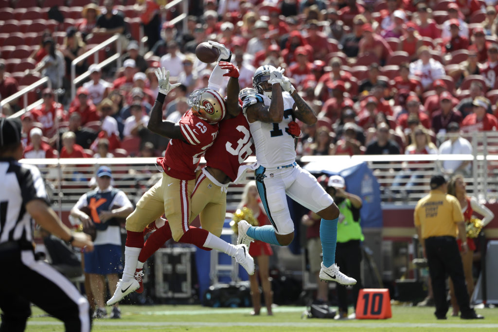 86feeb394 San Francisco 49ers strong safety Jaquiski Tartt (29) intercepts a pass  intended for Carolina Panthers wide receiver Kelvin Benjamin during the  first half ...