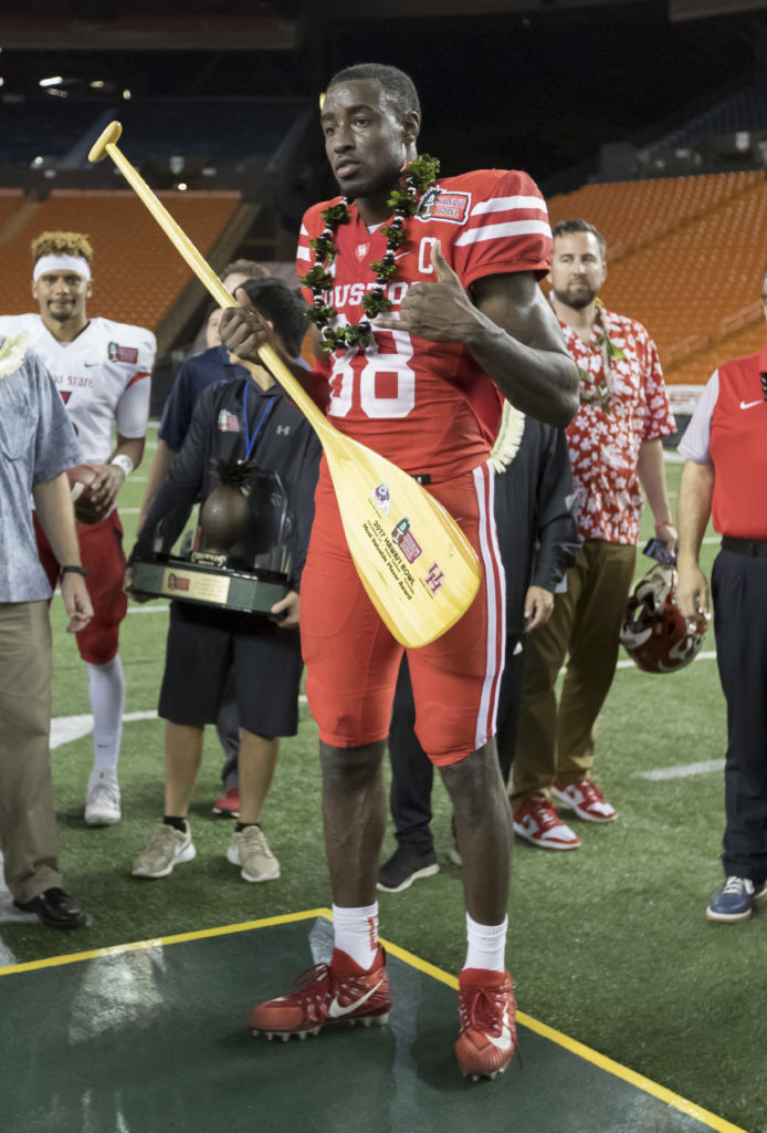 ... Steven Dunbar (88) was named the most valuable play for his team at in  the Hawaii Bowl NCAA college football game c75762260