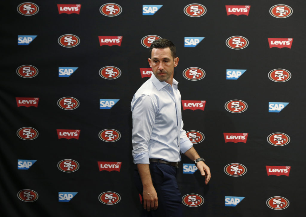 0fb0ef4ef05 San Francisco 49ers coach Kyle Shanahan takes the stage as the team  introduced first-round pick Mike McGlinchey during an NFL football news  conference ...