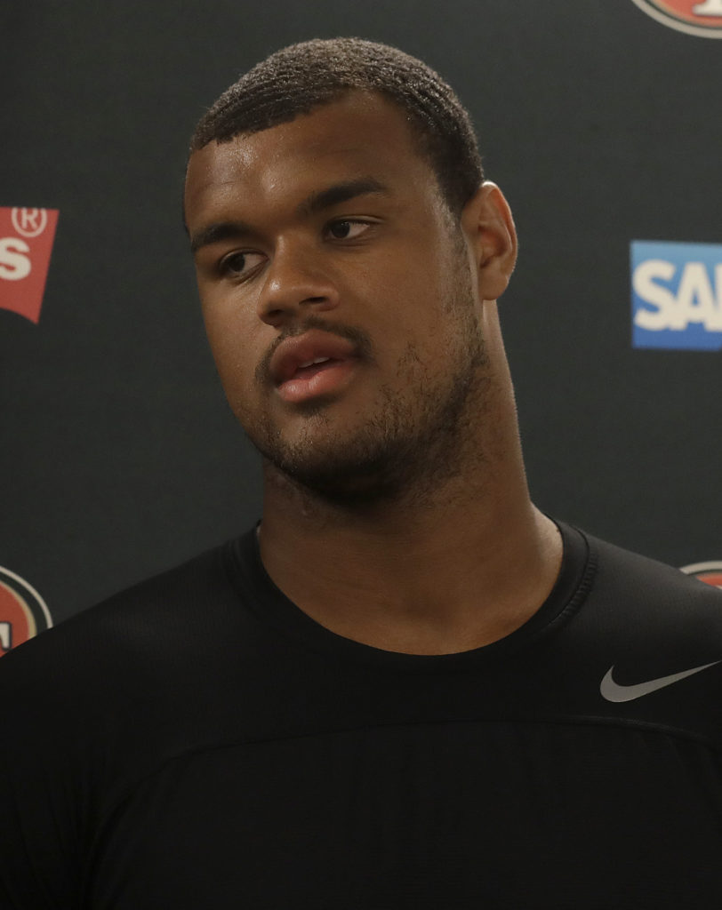 556ceff07 San Francisco 49ers defensive linemen Arik Armstead speaks to reporters  after a practice at the team s NFL football training facility in Santa  Clara