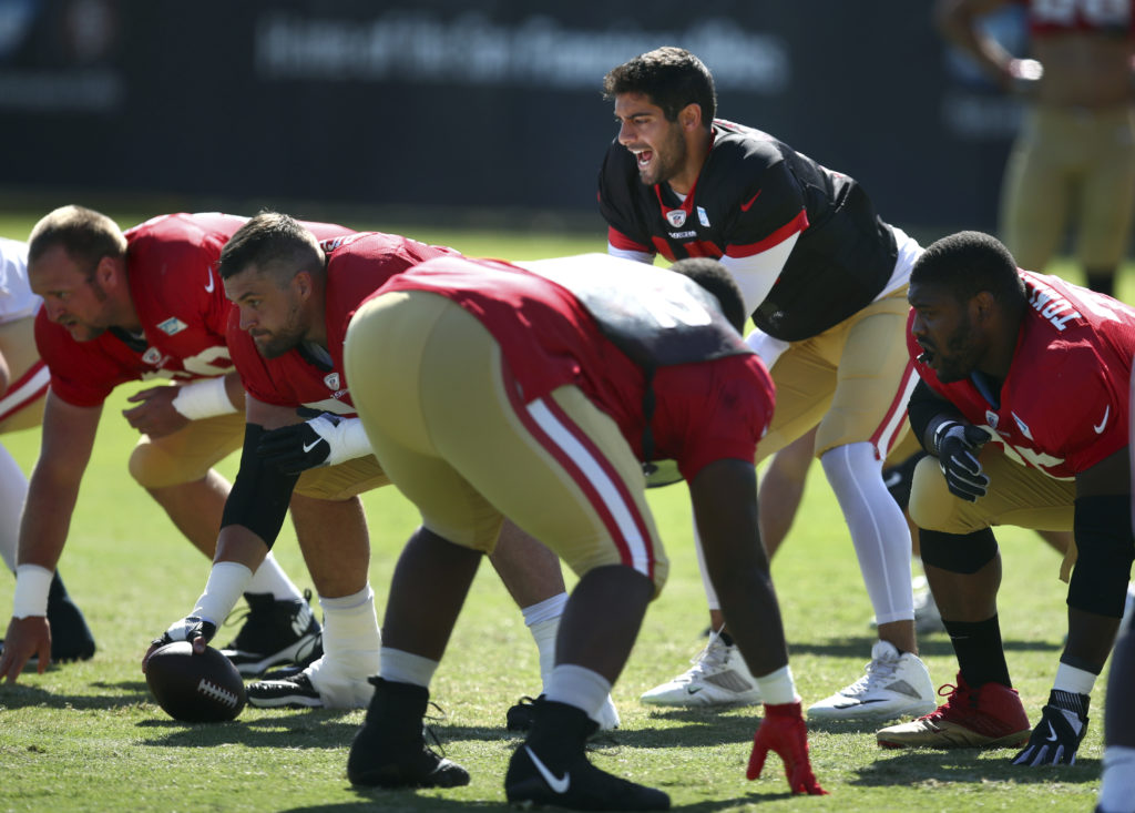 San Francisco 49ers quarterback Jimmy Garoppolo runs a play during NFL  football practice at the team s headquarters Thursday 57ea35d7d