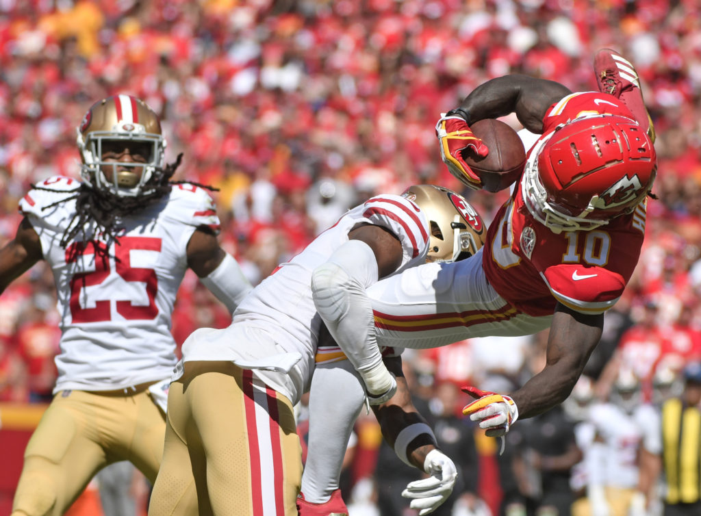 537d25578 Kansas City Chiefs wide receiver Tyreek Hill (10) makes a catch against San  Francisco 49ers defensive back Adrian Colbert (27) as 49ers cornerback  Richard ...