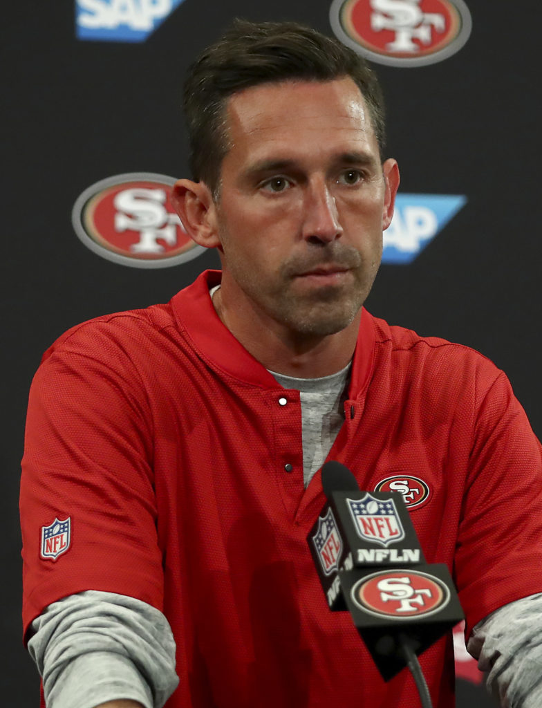 695131f7073 San Francisco 49ers head coach Kyle Shanahan speaks at a news conference  after an NFL football game against the Arizona Cardinals in Santa Clara