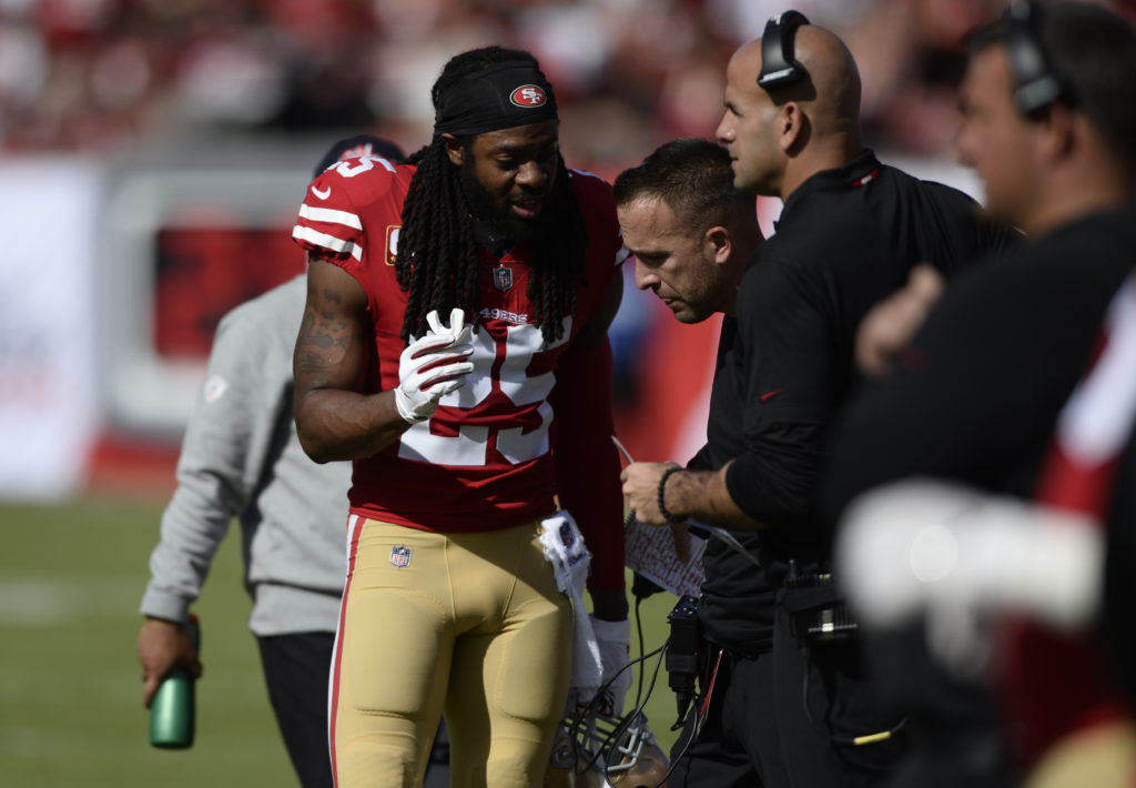 ef1d605f690 San Francisco 49ers cornerback Richard Sherman (25) talks to coaches during  the first half of an NFL football game against the Tampa Bay Buccaneers  Sunday, ...
