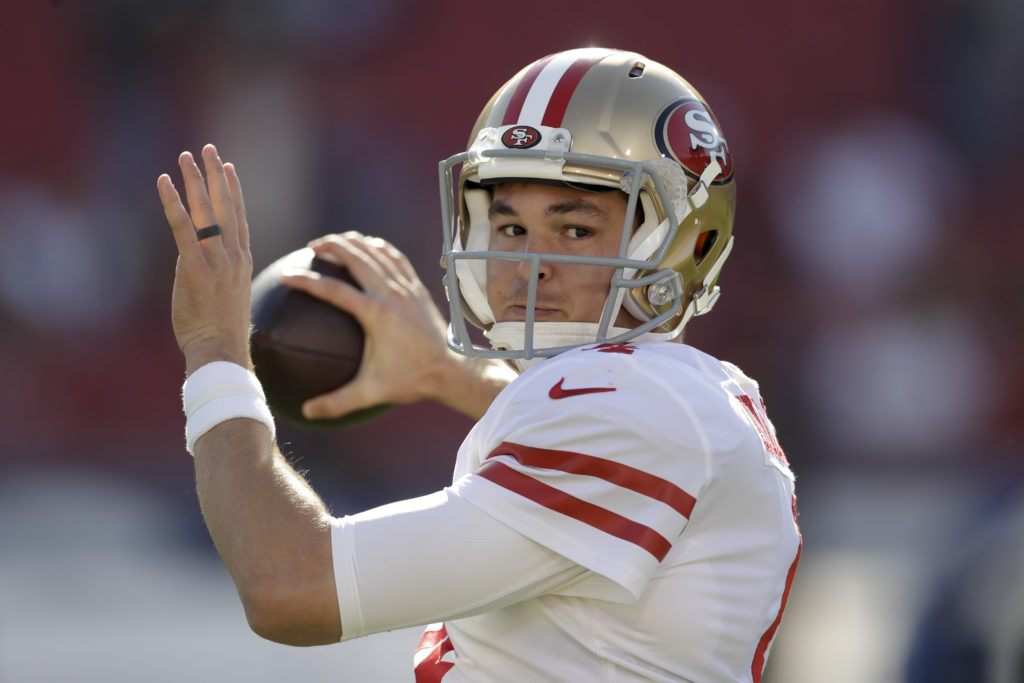 a1e4d2dca8a San Francisco 49ers quarterback Nick Mullens warms up before an NFL football  game against the Los Angeles Rams Sunday, Dec. 30, 2018, in Los Angeles.