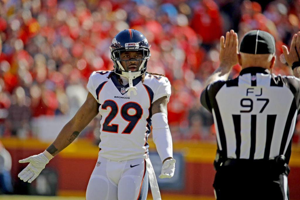 Denver Broncos cornerback Bradley Roby (29) protest a pass interference  call against him during the first half of an NFL football game against the  Kansas ... 224a79d7b