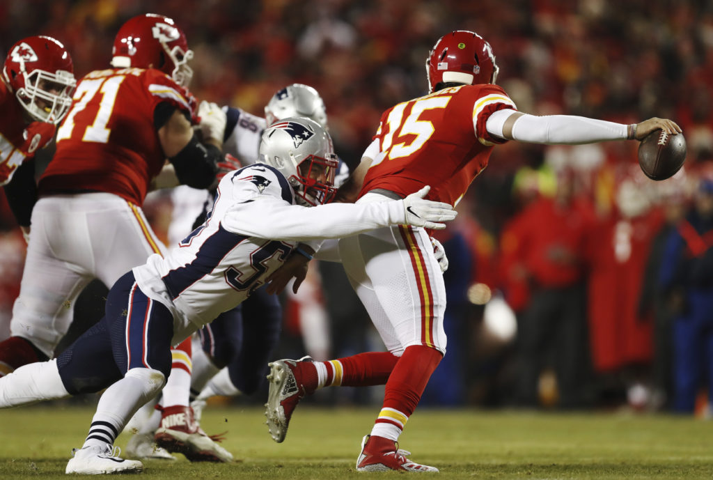 a190c921b ... Van Noy (53) sacks Kansas City Chiefs quarterback Patrick Mahomes (15)  during the first half of the AFC Championship NFL football game