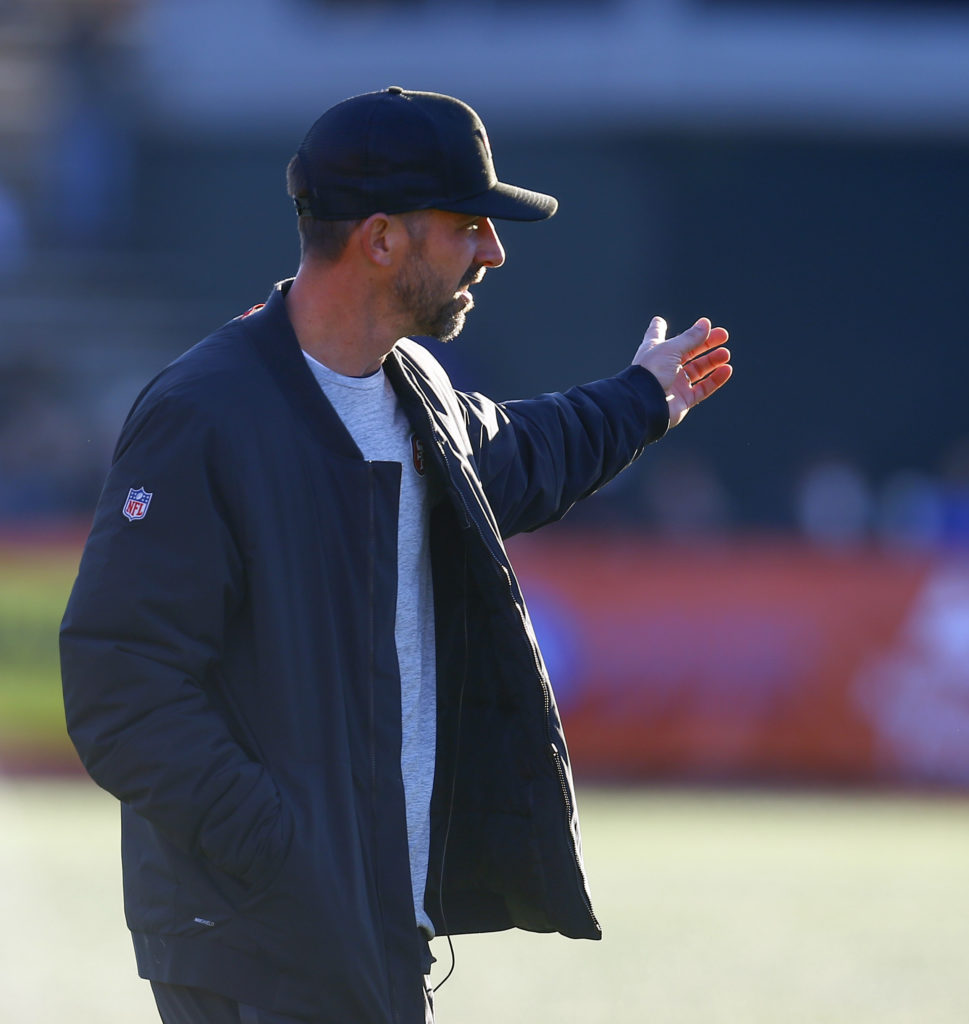 890f0c38a158b South head coach Kyle Shanahan of the San Francisco 49ers reacts to a call  during the second half of the Senior Bowl college football game