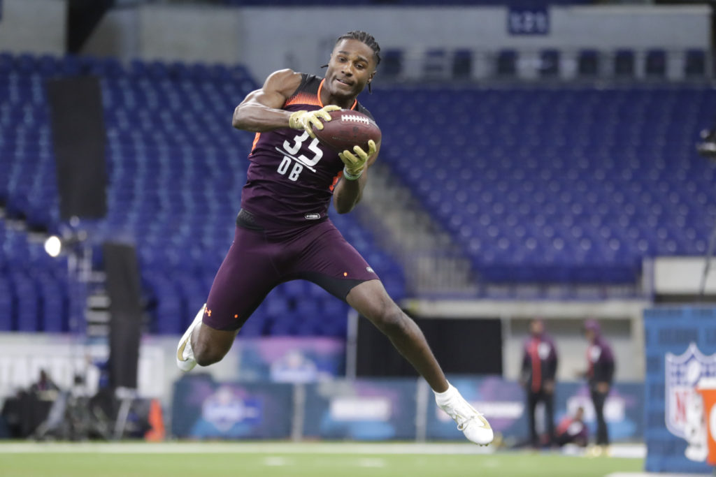2e0628db59c51 Vanderbilt defensive back Joejuan Williams runs a drill at the NFL football  scouting combine in Indianapolis, Monday, March 4, 2019.